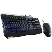 Tt eSPORTS COMMANDER LED Ilumination Gaming Keyboard and Mouse Combo Bundle KB-CMC-PLBLUS-01