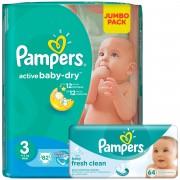 Scutece Pampers Active Baby 3 Midi Jumbo Pack 82 buc + Servetele Baby Fresh 64buc