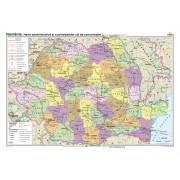 România. Harta administrativă şi a principalelor căi de comunicaţie 100x70 cm