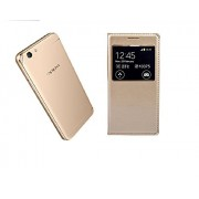 Karimobz Premium Artificial leather Flip Cover for Oppo F1s Caller ID - Gold