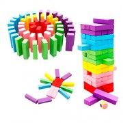 Imported Multi-colored Wooden Stacking Towering Blocks Tumbling Tower Pack of 48pcs