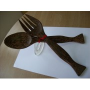 Salad fork-Spoon Coco Wood Salad Set Handcrafted Coco Wood Utensils