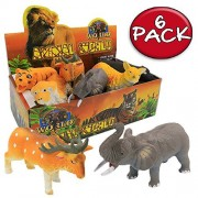 Animal Figure,8 Inch Jungle Animals Rubber Toy Sets(6 Pack),Zoo World Food Grade Material TPR Super Stretchy With...
