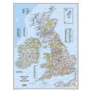 Wandkaart Britain and Ireland - Groot Brittannië en Ierland, 60 x 76 cm | National Geographic