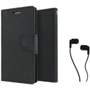 Lenovo S650 Mercury Wallet Flip case Cover (BLACK) With Champ Earphone(3.5mm jack)