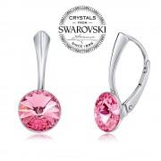 Silvego SILVEGO stříbrné náušnice se Swarovski(R) Crystals 8 mm rivoli růžové - VSW041E-rose