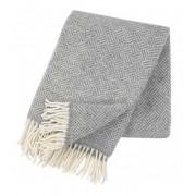 Samba ullpläd med fransar grey, Klippan Yllefabrik