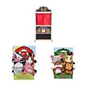 Melissa & Doug Puppet Time Theatre,Farm Friends Hand Puppets and Zoo Friends Hand Puppets Bundle