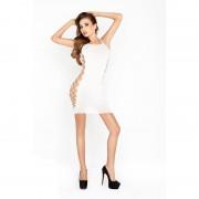 Passion vállpántos miniruha, oldalt hálós betéttel (fehér)