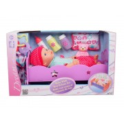 Dream Collection Puppe Baby mit Bett Deluxe Set, 35cm