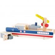Houten speelgoed container schip met containers