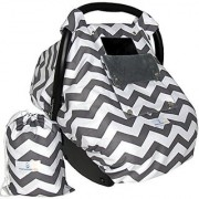 Baby Car Seat Covers for Girls and Boys Infant Canopy WITH Window-Flap System AND Bag