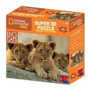National Geographic ng13531 Kids Super Leones africanos y crías de león 3d Puzzle (63-piece)