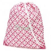 aBaby Pink Greek Key Gym Bag, Name: Hannah