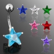 Köldökpiercing - csillag alakú cirkónia