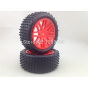 Generic No Glue : Pre-Glued 4pcs 1/10 Buggy Tires Tyre(Off-Road) 8Y Wheel(Red) Rim fits for 1:10 4WD Buggy Car 1/10 Tire