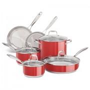 Conjunto de Panelas Inox Esmaltado Vermelho 6 Peças - KitchenAid