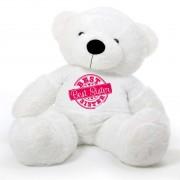 5 feet big white fur face teddy bear wearing special Best Sister T-shirt