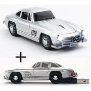Click Car CLICK-BENZ-BUNDLE Mercedes-Bens 300SL Wireless Optical Mouse and 4GB USB 2.0 Stick Bundle Kit Silver
