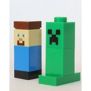 LEGO Minecraft Block Minifigures - Steve and Creeper Very Small Aprox 1 Size (21102)