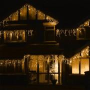 LED Fényjégcsap átlátszó vezetékes 6,6m meleg fehér