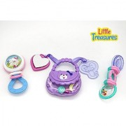 Little Treasures Baby Rattle Teething Set - 3 different colorful teething rattles toys for babies 6+ months babies