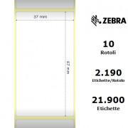 Zebra Z-Perform 1000T - Etichette in carta normale (vellum) di colore bianco, formato 37 x 67 mm.