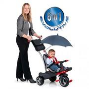 Molto - 12211, Triciclo 6 in 1, con maniglione, ombrellino parasole e cinture di sicurezza, struttura in metallo