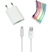 USB Travel Charger and Flexible USB LED Lamp Combo for Karbonn Titanium S5 Plus