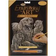 """Cuccioli & foglia d'oro incisione Art Kit 8 """"X 10""""-Golden Retriever"""