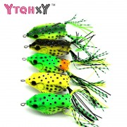 1 pc New Soft Frog Lure Bass Fishing Double Hooks Bait Crankbaits fishing Tackle Topwater Gear Accessories 5 colors YE-193