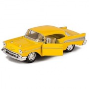 Yellow 1957 Chevy Bel Air Die Cast Toy With Pull Back Action