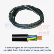 Cable de 4mtr. para conexión Split - Compresor, 4 hilos de 1.5mm
