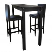 vidaXL Бар маса и 2 стола, черни