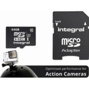 Card Memorie Integral MicroSDXC 64GB Clasa 10 + Adaptor SD inmsdx64g10-action