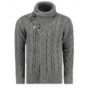 Pánský luxusní svetr vlněný 0717 s kapsami šedý - XL