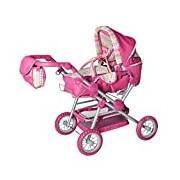 Knorrtoys.com 10838, Doll's Combi Pram Twingo S, Pink with Stripes