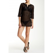 Laundry by Shelli Segal Crochet Tunic BLACK