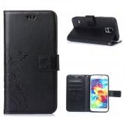 Ivencase Pour Samsung Galaxy S5 Sm-G900f G901f / S5 Neo Coque Housse Étui À Rabat Neuf Fleur Papillon Pu Cuir De Protection - Noir
