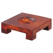 """Square Wood Base for 4.5 and 6"""" Mova Globes in Natural Wood Finish"""