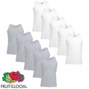 Fruit of the Loom 10 Canottiere Valueweight Cotone Bianche e Grigie M