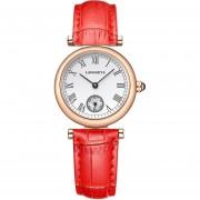 Oanda LANGGEYA De Alta Gama Personalizados Números Romanos Sencillos Relojes De Dos Polos Ocasionales Mujer Semi-cuero De Cuarzo (rojo)