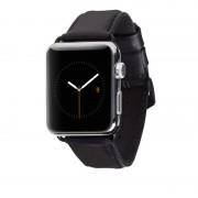 Casemate Signature V2 Leather Strap - класическа кожена каишка за Apple Watch 42мм (черен)