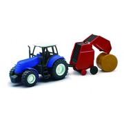 NEWRAY 05688 - Farm Tractor Scala 1:32 Trattore Blu con Rotoimballatrice, Scala 1:32