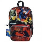 2016 Dc Comics Batman Superman 16 Backpack with Lunch Bag Set-red