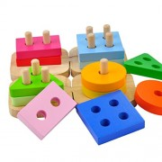 ACOOLTOY Stacker Geometric Intelligence of Hollow Blocks Order Set Geometric Shapes (Shape Sorter)