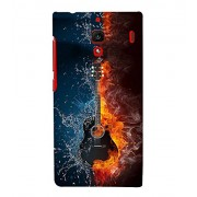 FUSON Acoustic Guitar Fire Water 3D Hard Polycarbonate Designer Back Case Cover for Xiaomi Redmi 1S :: Xiaomi Hongmi 1S