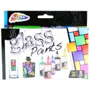 Grafix Set Of 5 Glass Paints - Make & Design Your Own Glass Art For Ages 5+