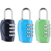 DOCOSS Set Of 3-4 Digit Small Bag Brass Locks Travel Luggage Resettable Combination Password Safety Lock(Multicolor)