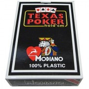 Modiano Italian Poker Game Playing Cards - Black Box Texas Poker - RED Deck - Jumbo 2 Index - Single Card Deck - 100% Pl